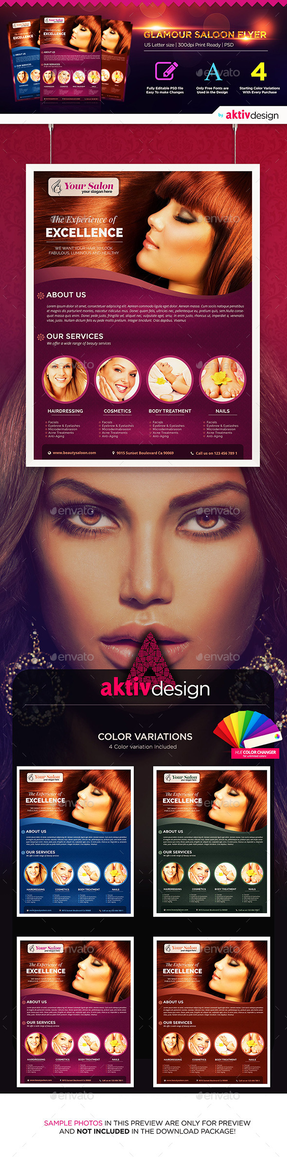 GraphicRiver Glamour Saloon and Beauty Flyer 9855058