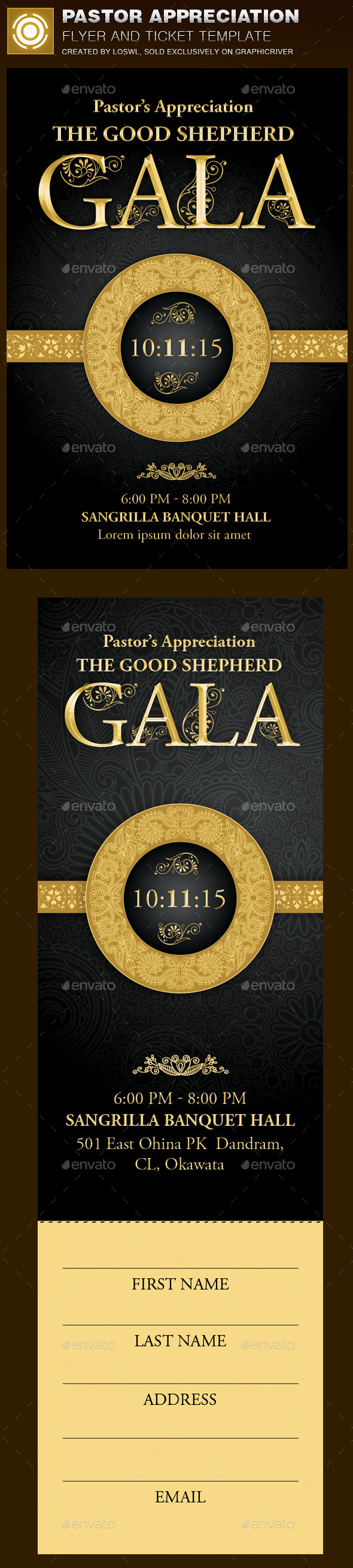 GraphicRiver Pastor Appreciation Church Flyer and Ticket 9855084