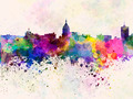 Fresno skyline in watercolor background - PhotoDune Item for Sale