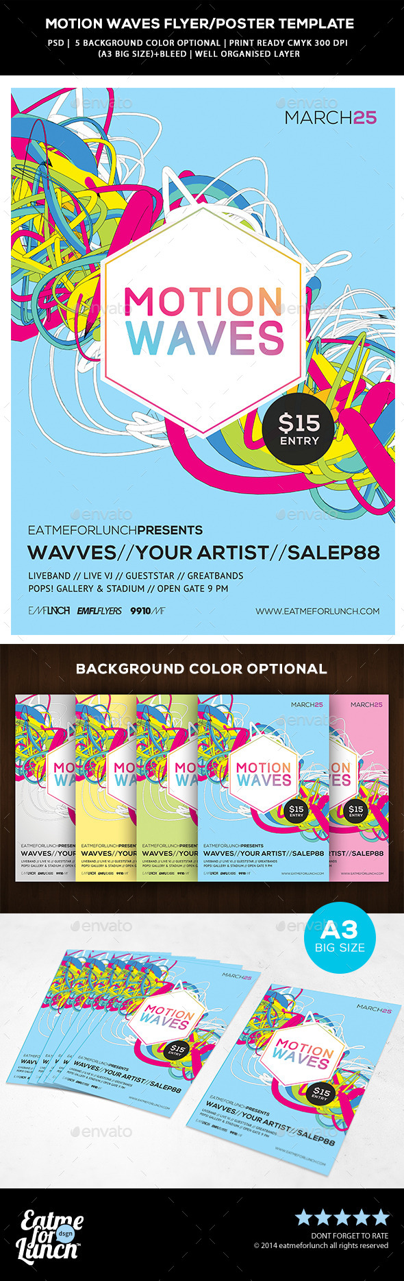 GraphicRiver Futuristic Abstract Flyer Poster Motion Waves 9828268