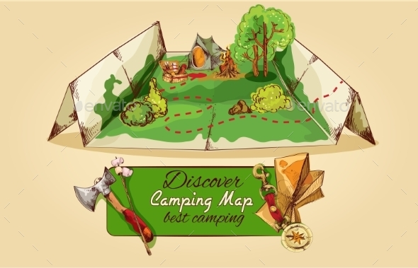 GraphicRiver Camping Map Sketch 9855473