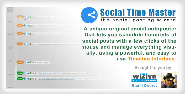 Schedule hundreds of social posts with a few clicks of the mouse and manage everything visually, using a flexible and powerful, but yet easy to use Timeline Int