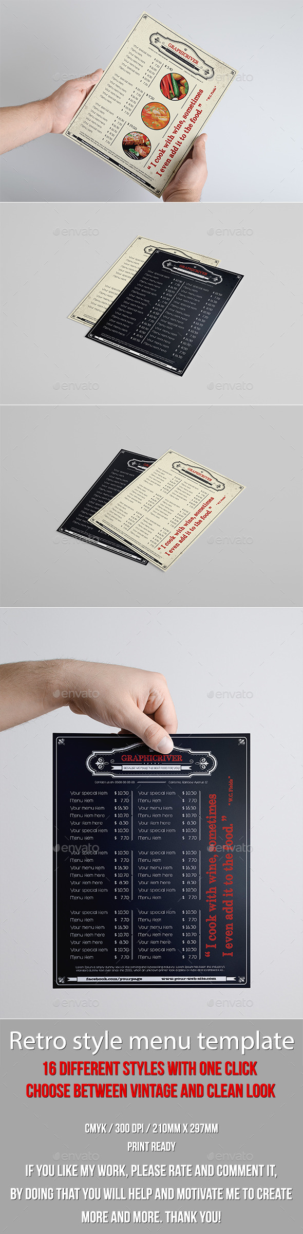 GraphicRiver Multipurpose Retro Menu 16 in 1 9855769