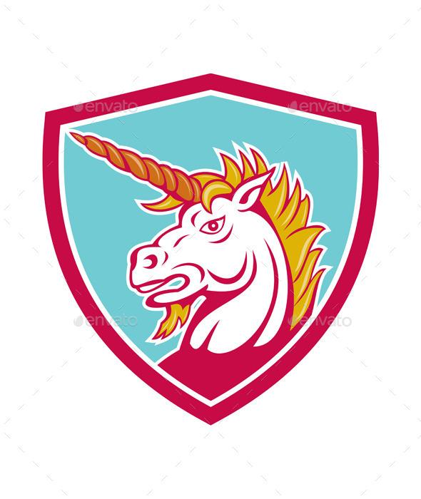 GraphicRiver Angry Unicorn Head Shield Cartoon 9855813