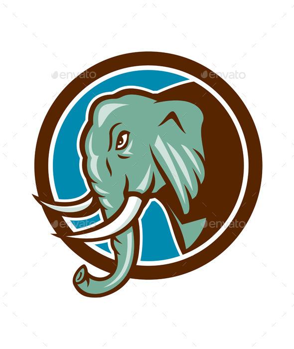 GraphicRiver Elephant Head Side Circle Cartoon 9855814