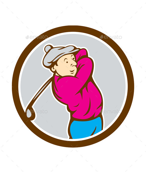 GraphicRiver Golfer Swinging Club Circle Cartoon 9855826
