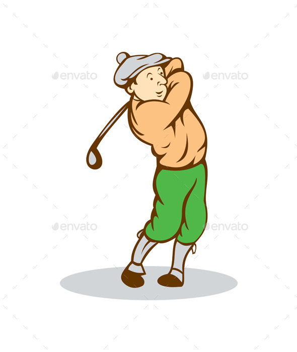GraphicRiver Golfer Swinging Club Cartoon 9855831