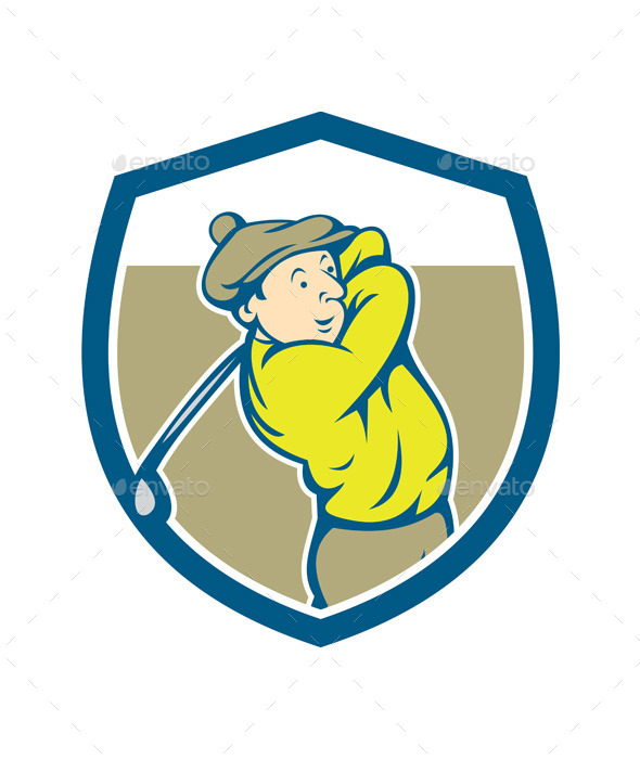 GraphicRiver Golfer Swinging Club Shield Cartoon 9855834
