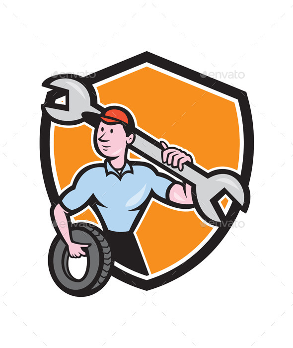 GraphicRiver Mechanic Spanner Wrench Tire Shield Cartoon 9855836