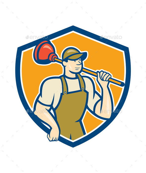 GraphicRiver Plumber Holding Plunger Shield Cartoon 9855845