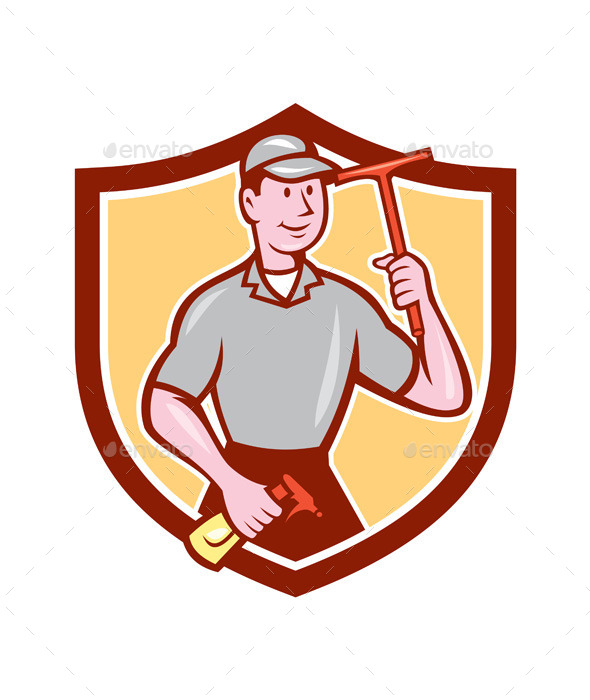 GraphicRiver Window Washer Cleaner Squeegee Shield Cartoon 9855857