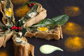 Pieces Of Chard Pie Decorated With Holly - PhotoDune Item for Sale