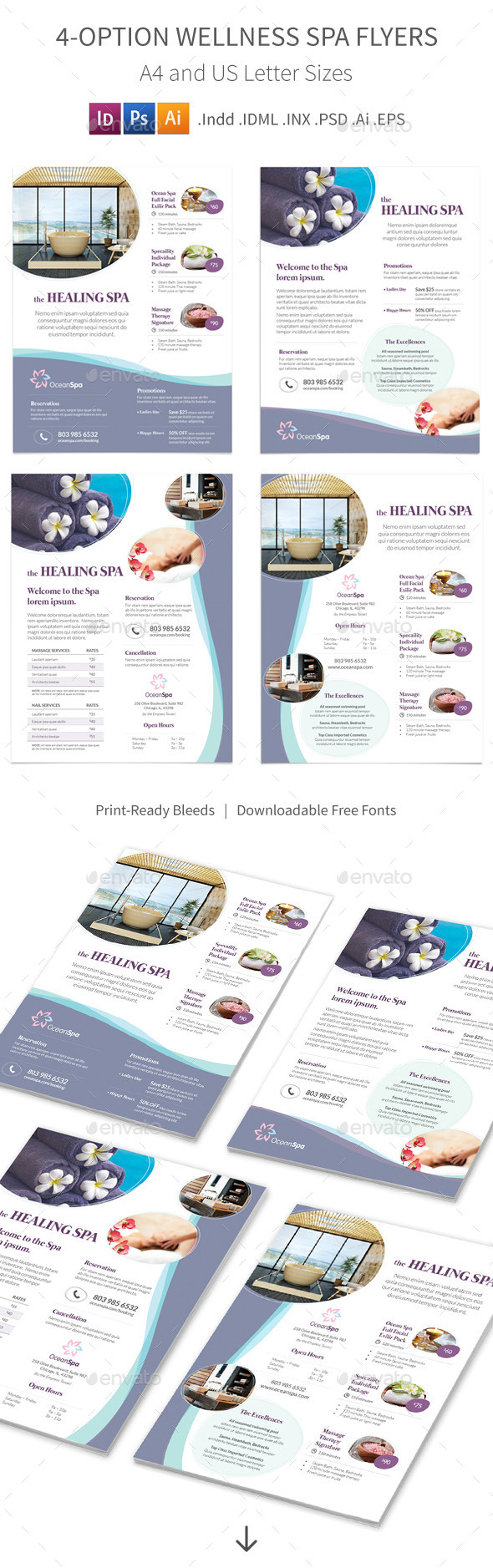 GraphicRiver Wellness Spa Flyers 4 Options 9857156