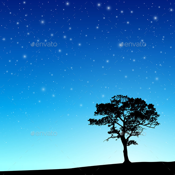 GraphicRiver Tree with Night Sky 9857176