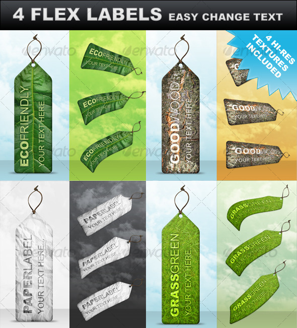 GraphicRiver 4 Premium Flex Labels 124206