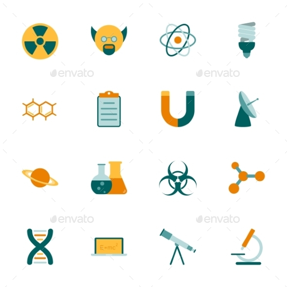 GraphicRiver Science Flat Icons Set 9857465