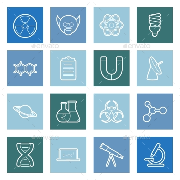 GraphicRiver Science Lines Icons Set 9857466