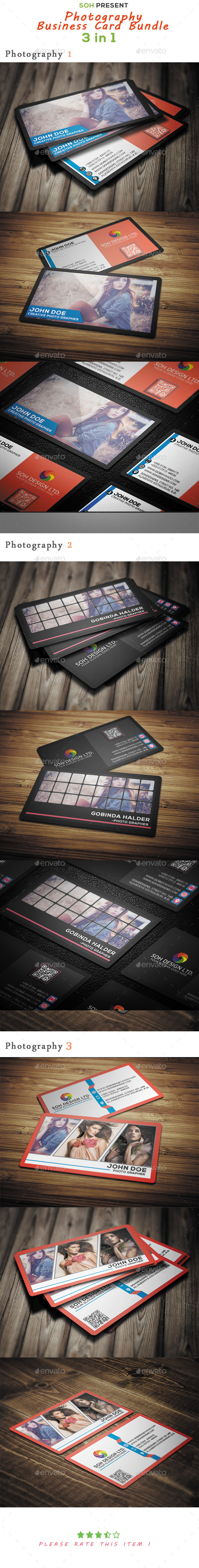 GraphicRiver Photography Business Card Bundle 9857483