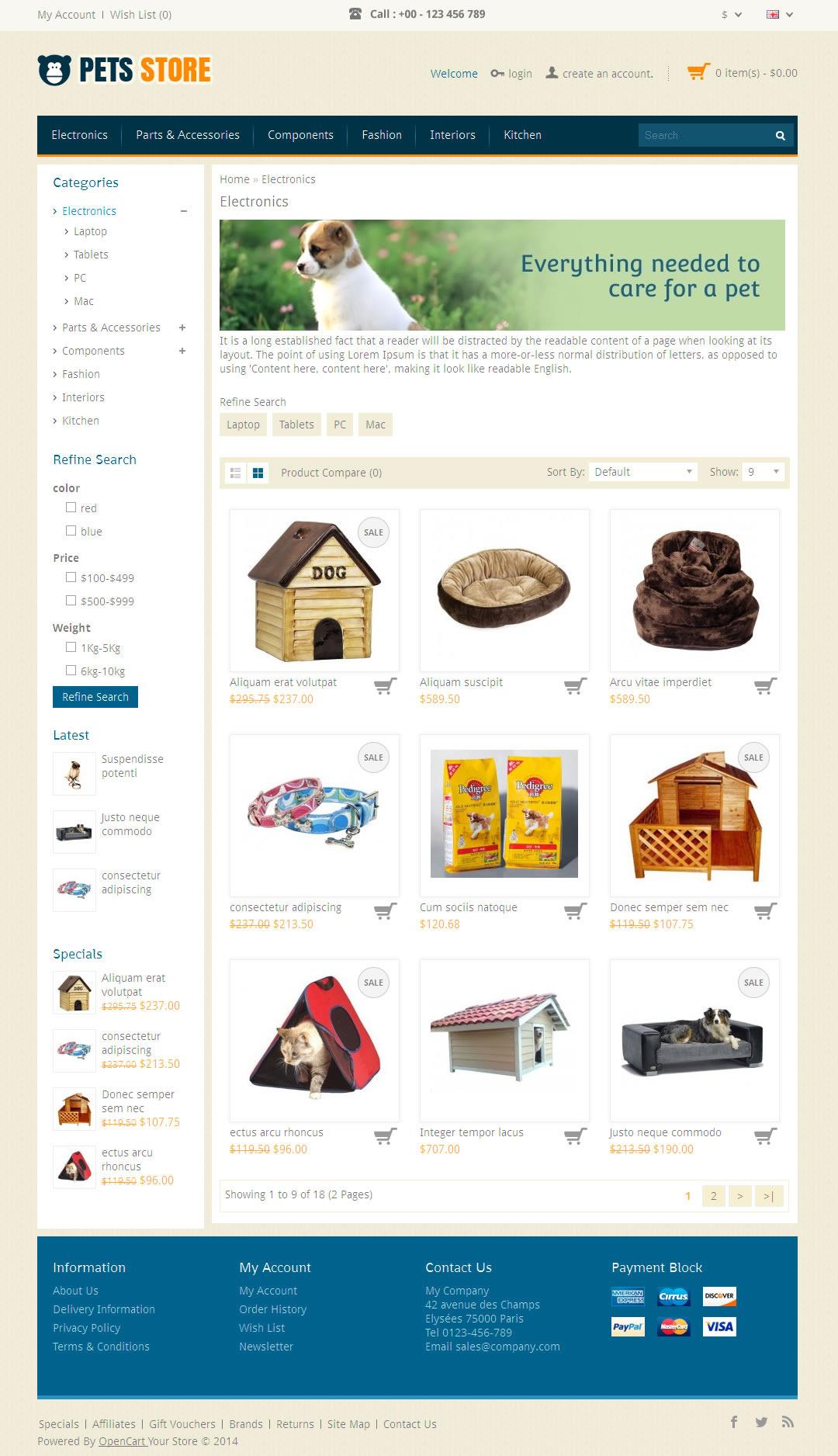 Pet Store - Opencart Responsive Theme