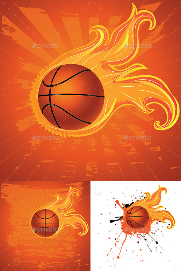 GraphicRiver Fire Basketball Ball 9857751