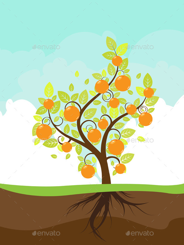 GraphicRiver Stylized Orange Tree 9857774