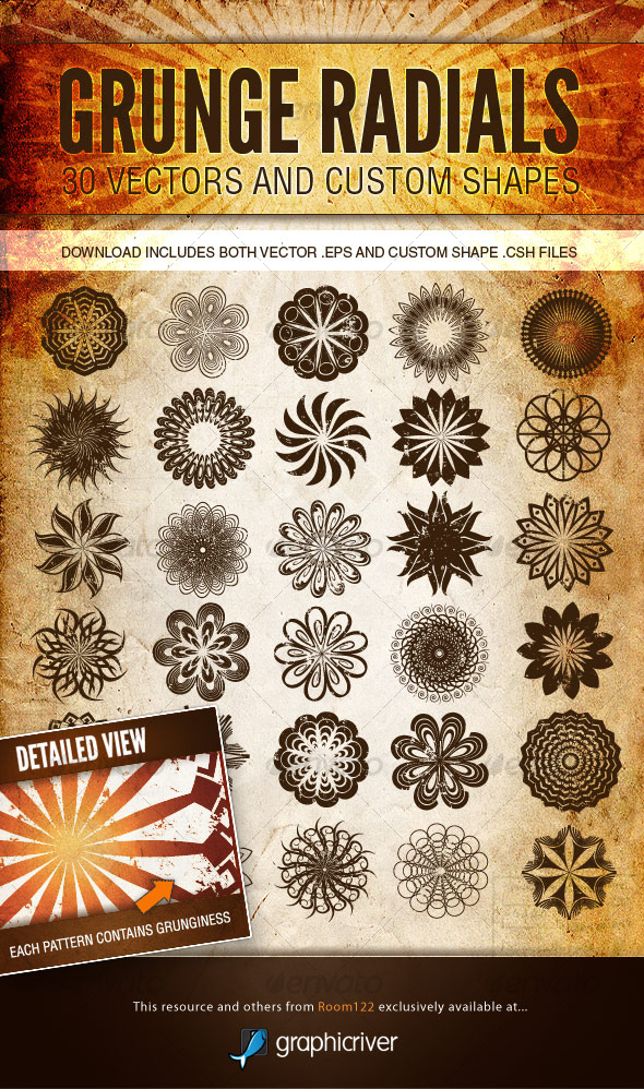 GraphicRiver Grunge Radials Vector Patterns and Custom Shapes 125182
