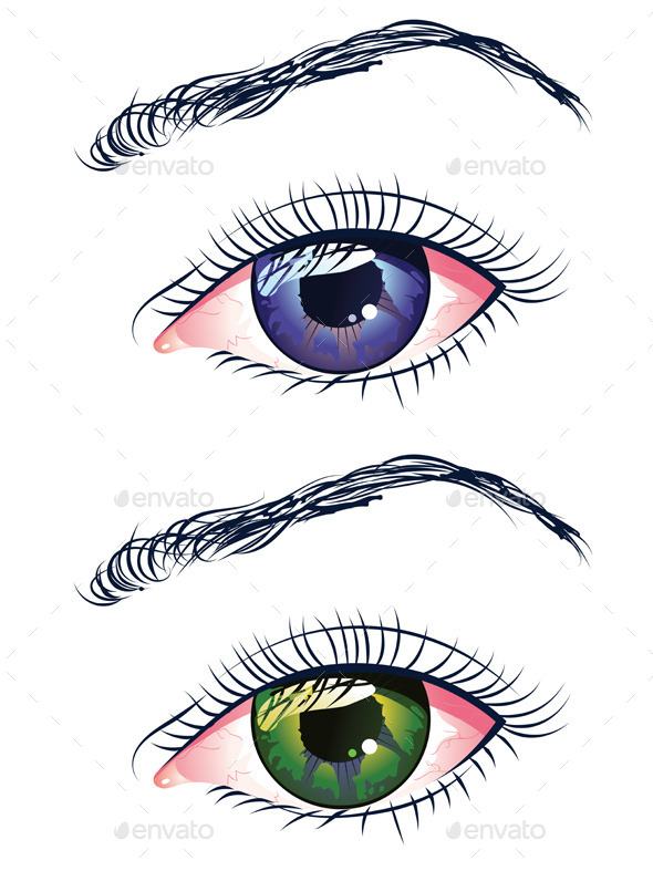 GraphicRiver Violet and Green Eyes 9857866