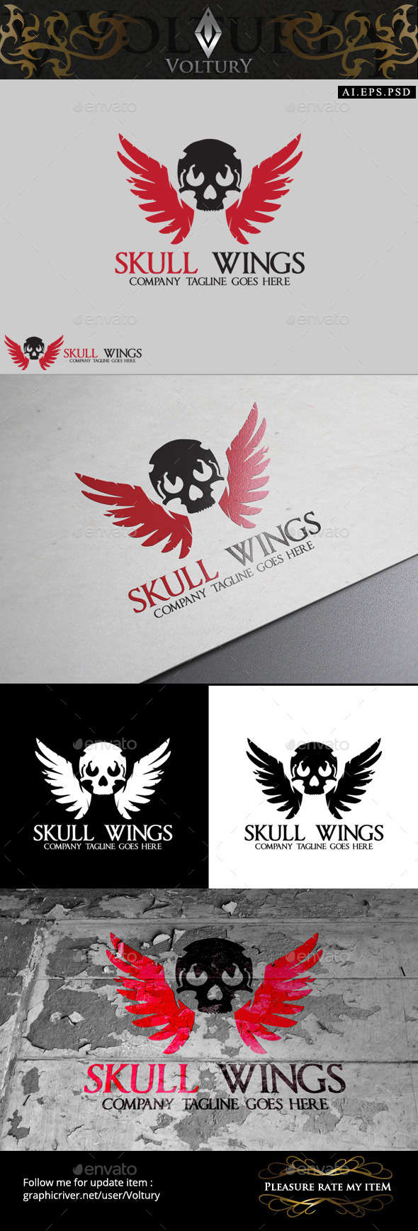 GraphicRiver Skull Wings Logo 9858367