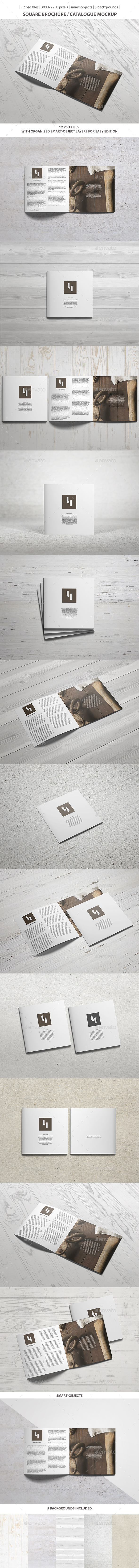 GraphicRiver Square Brochure Catalogue Mockup 9858532