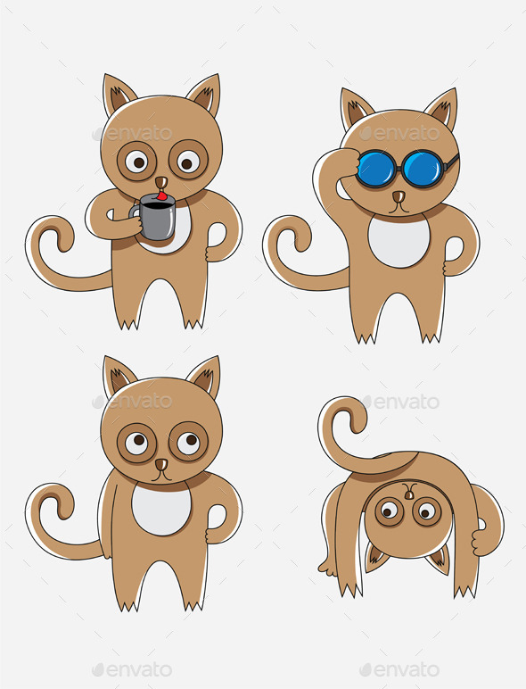 GraphicRiver Cat Cartoon Set 9858970
