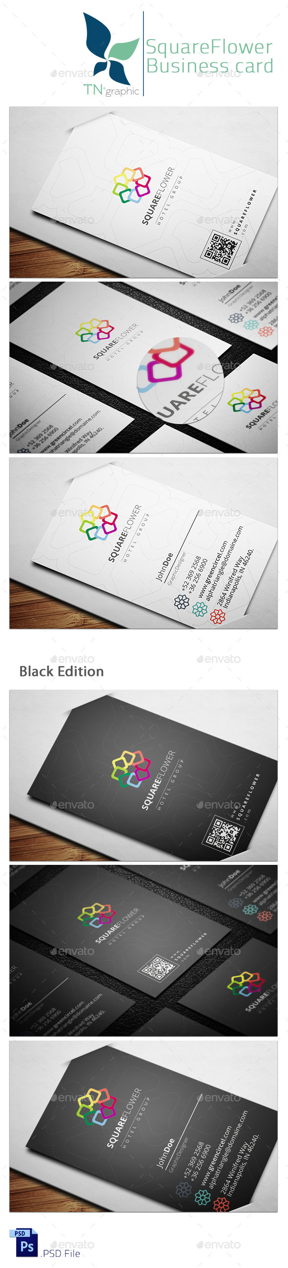 Square Flower Hotel Business Card