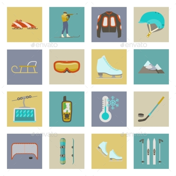 GraphicRiver Winter Sports Flat Icons Set 9859295