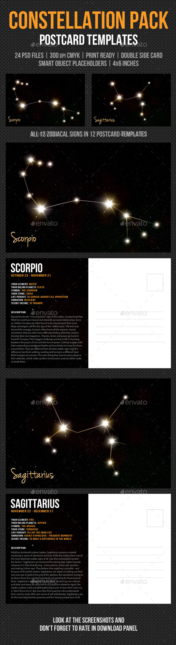 GraphicRiver Constellation Postcard Pack 9859549