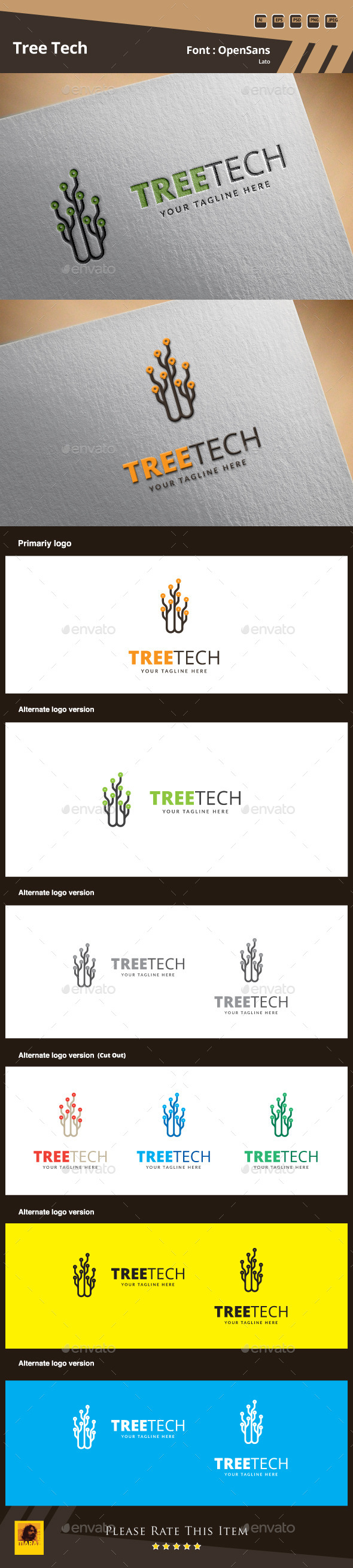 GraphicRiver Tree Tech Logo Template 9859673