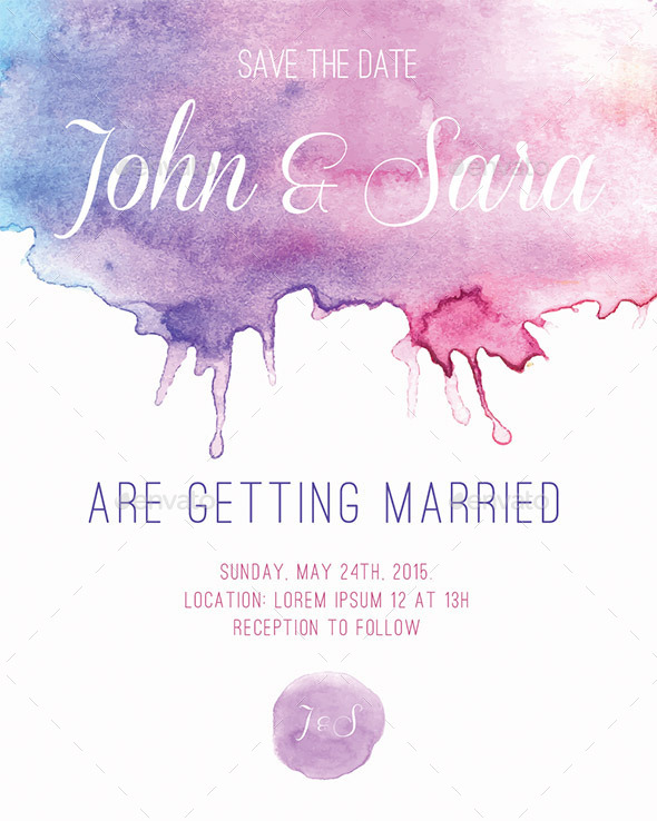 GraphicRiver Watercolour Card for Invitation or Announcement 9701255