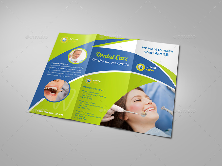 Dental clinic tri fold brochure vol 2 by owpictures for Clinic brochure template
