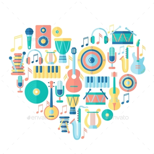 GraphicRiver Heart with Musical Instruments 9860895