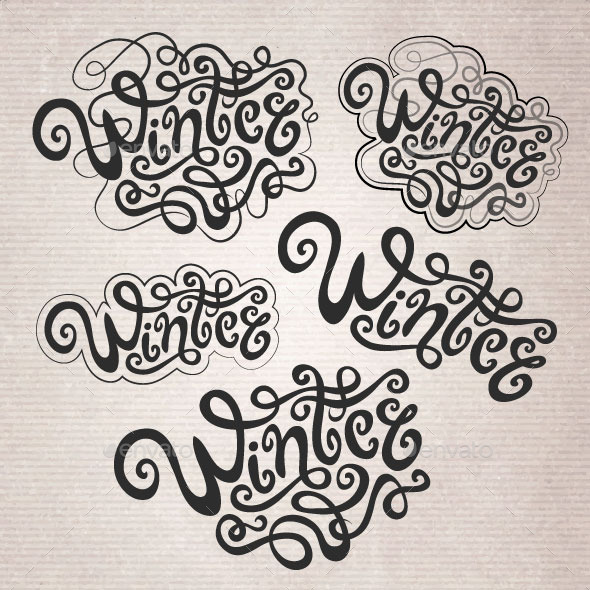 GraphicRiver Winter Hand Lettering Set 9861436