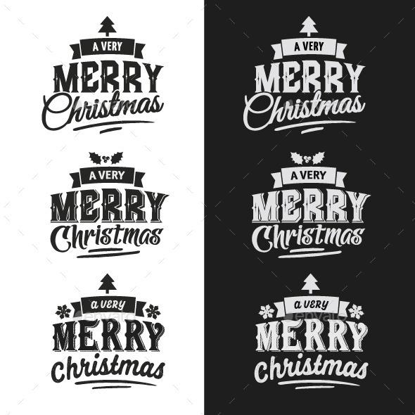 GraphicRiver Christmas Typographic Design Emblem Set 9861445