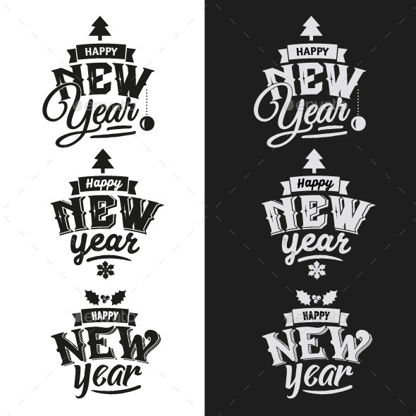 GraphicRiver 3 New Year Typographic Design Emblem Set 9861480
