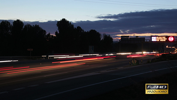 Highway Traffic Cars at Sunset Time Lapse