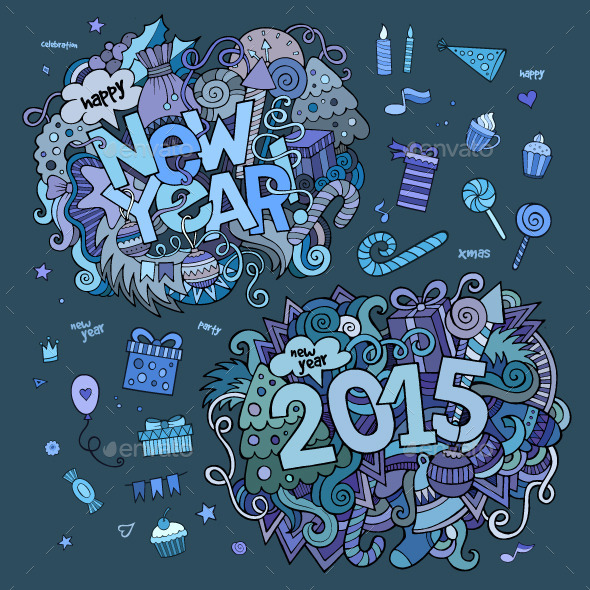 GraphicRiver New Year Doodles Designs 9861517