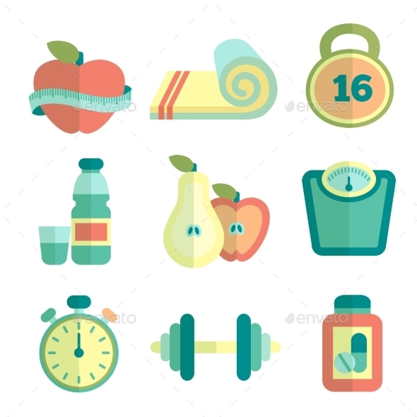 GraphicRiver Set of Fitness Icons 9861643