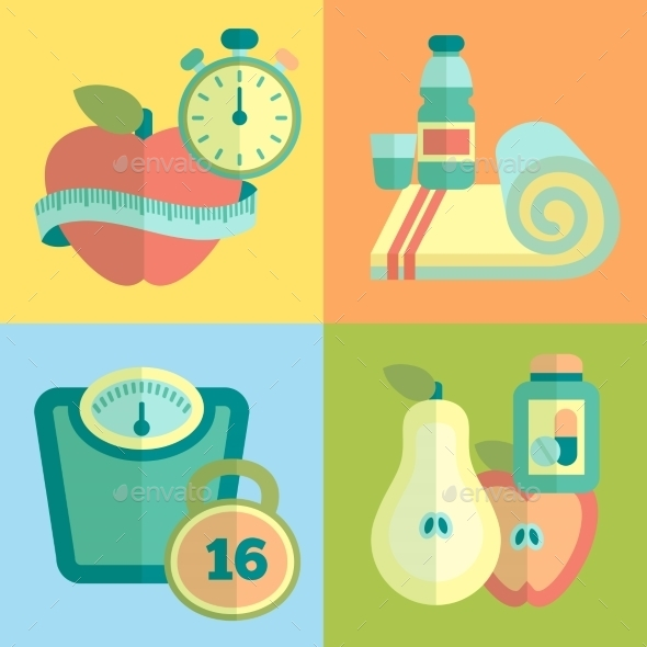 GraphicRiver Set of Fitness Icons 9861644