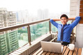 relaxed young business man watching the city view - PhotoDune Item for Sale