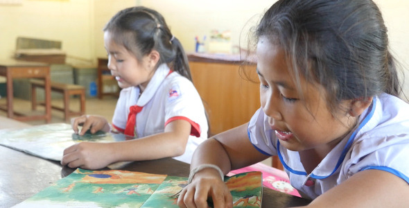 Little Girls Students Reading