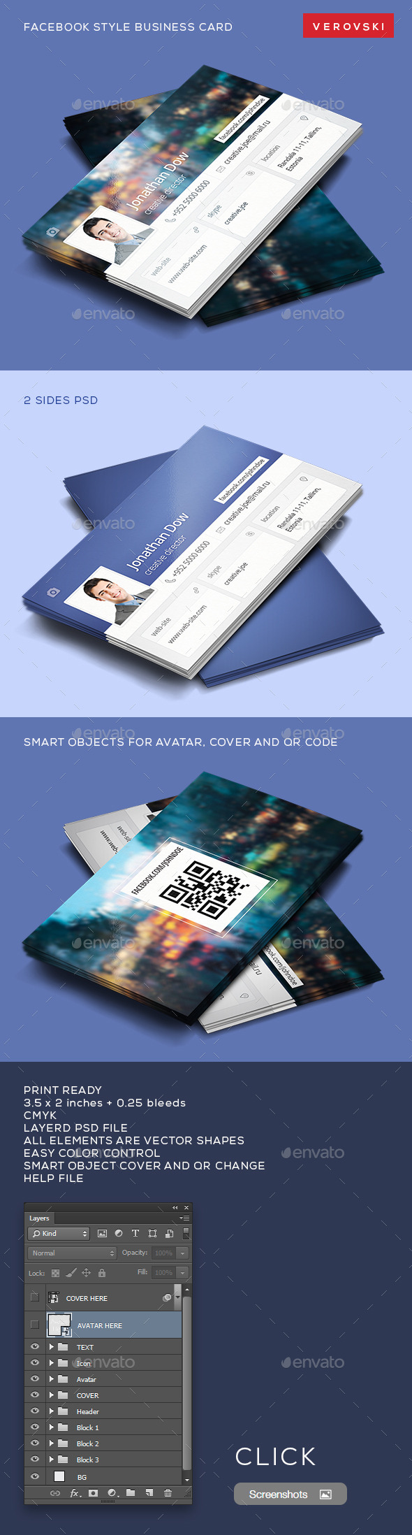 GraphicRiver Facebook Style Business Card 9497515