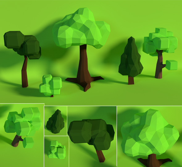 LowPoly Trees .Pack7 - 3DOcean Item for Sale