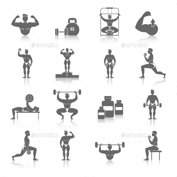 GraphicRiver Bodybuilding Icons Set 9863156