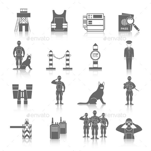 GraphicRiver Border Guard Icon Set 9863158